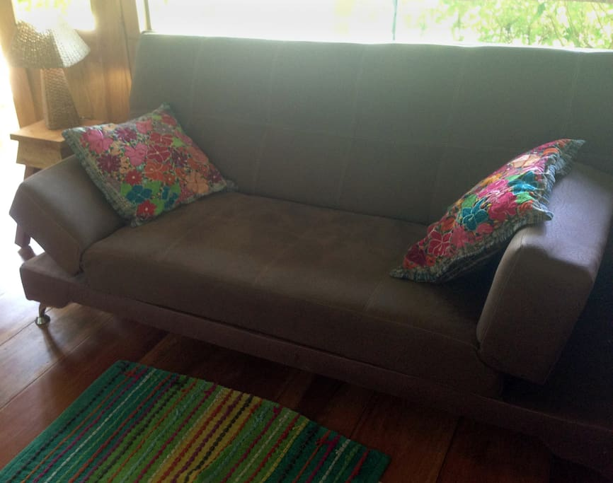 Bamboo Bungalow living area fold out couch