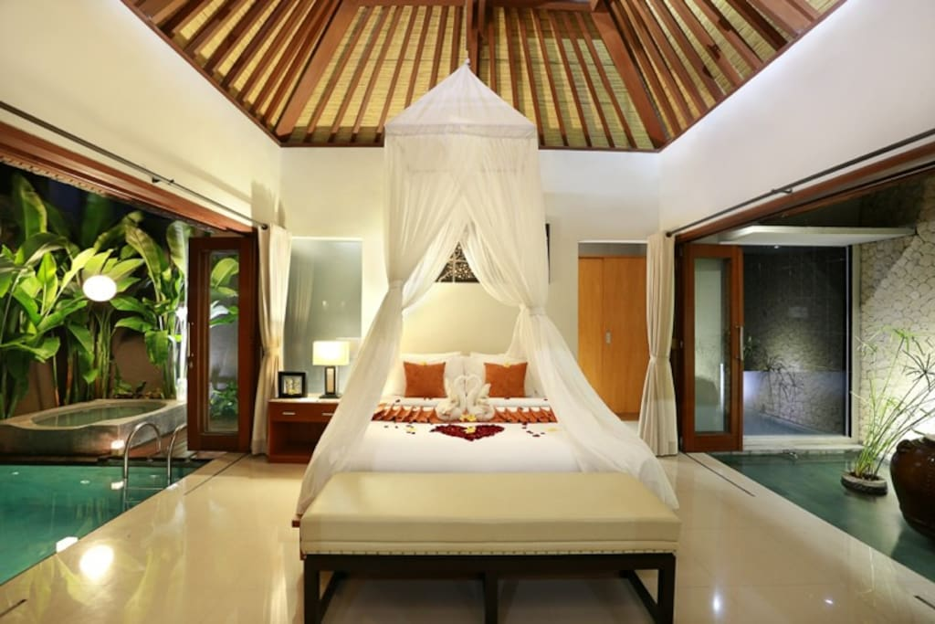 Romantic Bedroom with Pool and Jacuzzi View