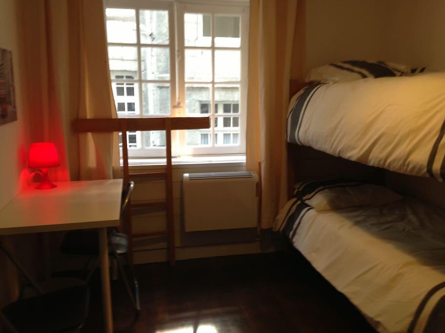 La seconde chambre avec lits superposés...