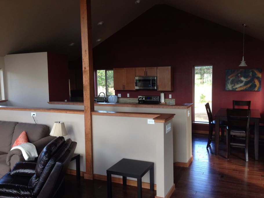 Open kitchen, dining, living