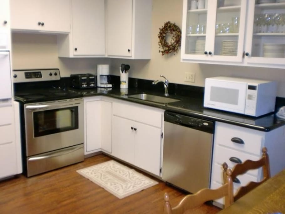 Remodeled kitchen with stainless steel & granite