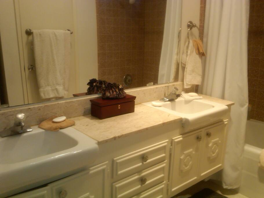 Bathroom with double sinks bath tub and shower.