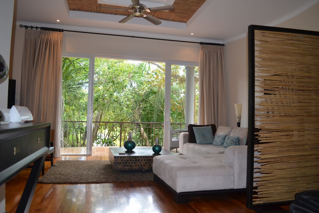 View through living area to private patio