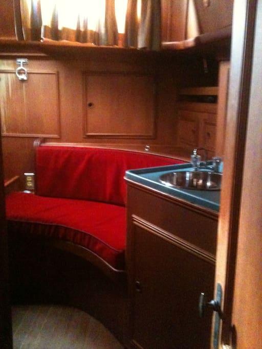 looking into the captain's quarters, romantic, even an ensuite sink!