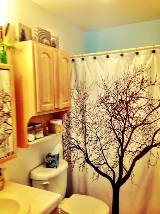 Full bath with shower and bathtub.