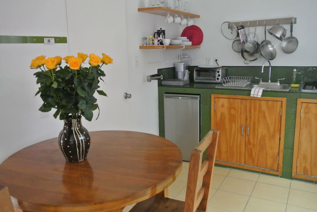 dining area and well equipped kitchen area