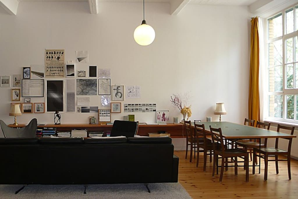 main loft room with big working table