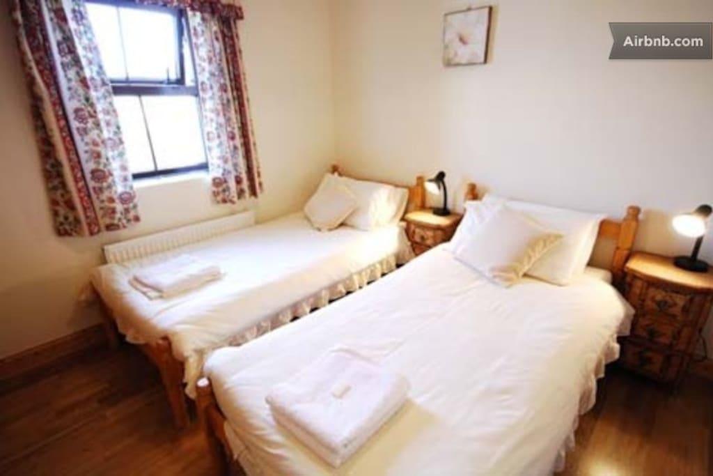 Twin bedroom with bathroom