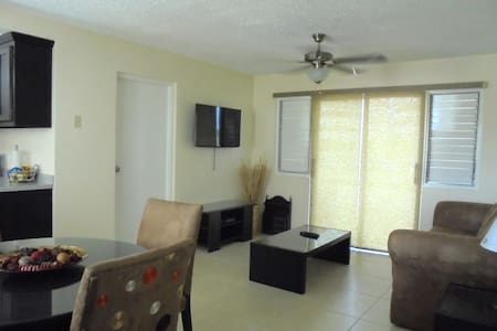 This modern retreat is just steps away from numerous restaurants, the New Kingston Shopping Center, Emancipation Park, Centerstage Theatre, the main business districts and has easy access to transportation and tours to popular sites like the Bob Marley Museum, Port Royal and Devon House and much more. Designed with the dynamic traveler in mind!  * AC  * Hot water * Ultra comfortable pillow top Serta mattress * Stainless steel kitchen appliances * Balcony * Cable TV and WIFI