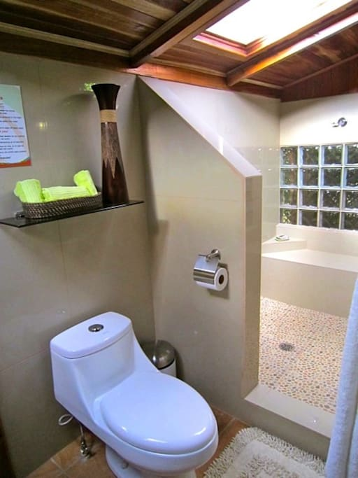 Private bathroom with attached shower and hot water