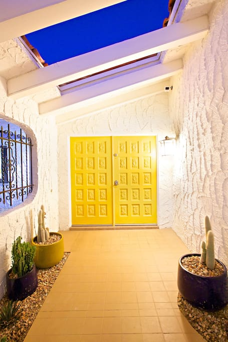 your entrance with the yellow door