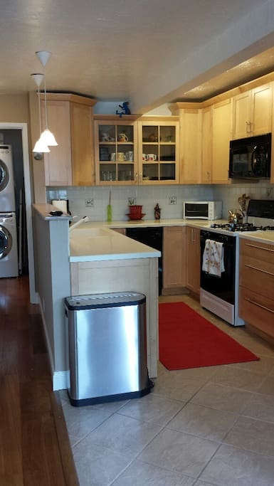 Fully equipped kitchen with plenty of cabinets/pantry, garbage disposal, dishwasher, range, microwave and full size refrigerator.