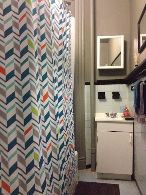 The bathroom with vintage blue tiles and fun shower curtain.