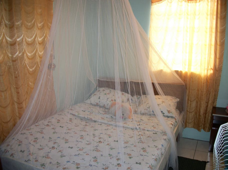 First Bedroom, beautiful view, complete with bug netting for a restful sleep!