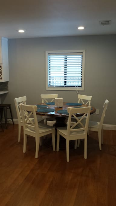 Spacious dining table seats 6