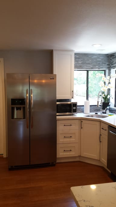 stainless refrigerator and dishwasher