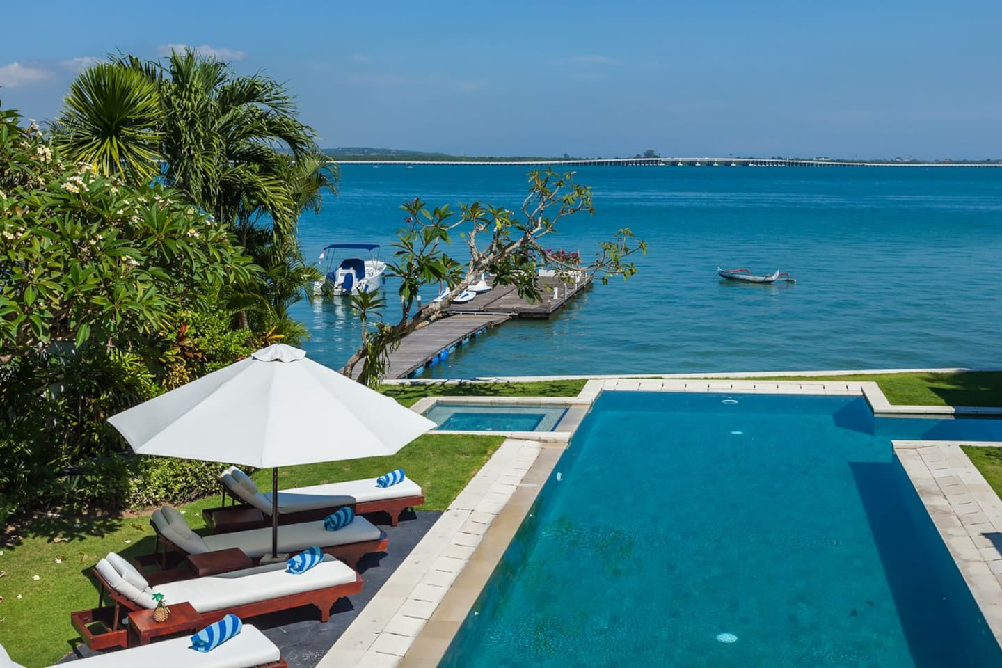 Villa Sunset Nusa Dua comes with waterfront pool, speed boat, jetty and kayaks