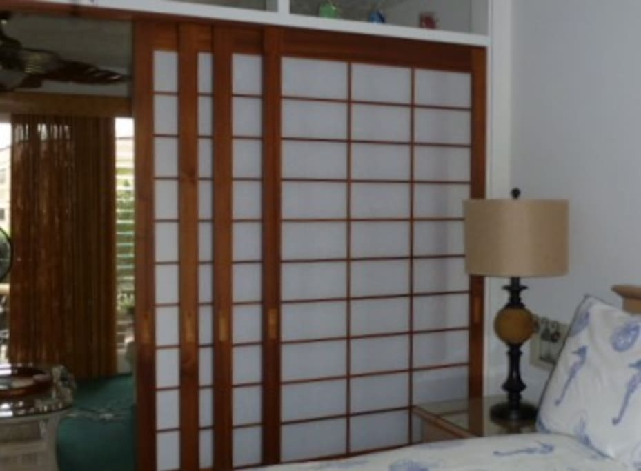 New Shoji doors which divide the bedroom from the living area
