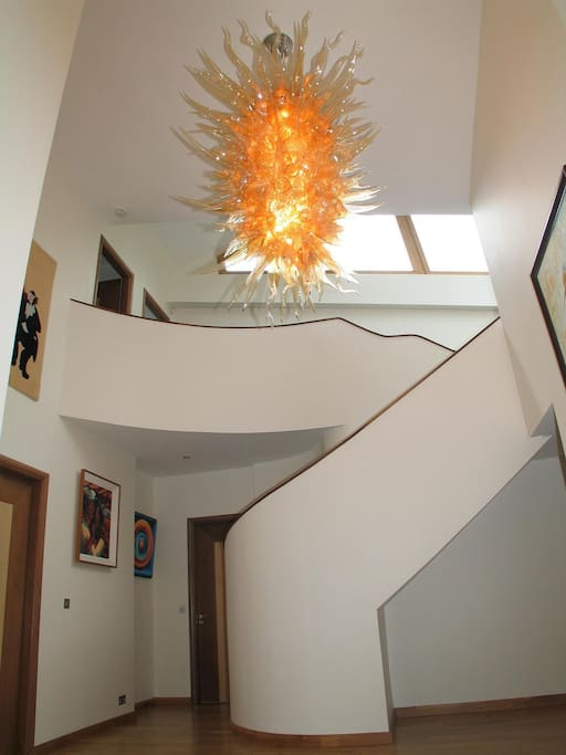 Entrance hall showing the one-off light installation