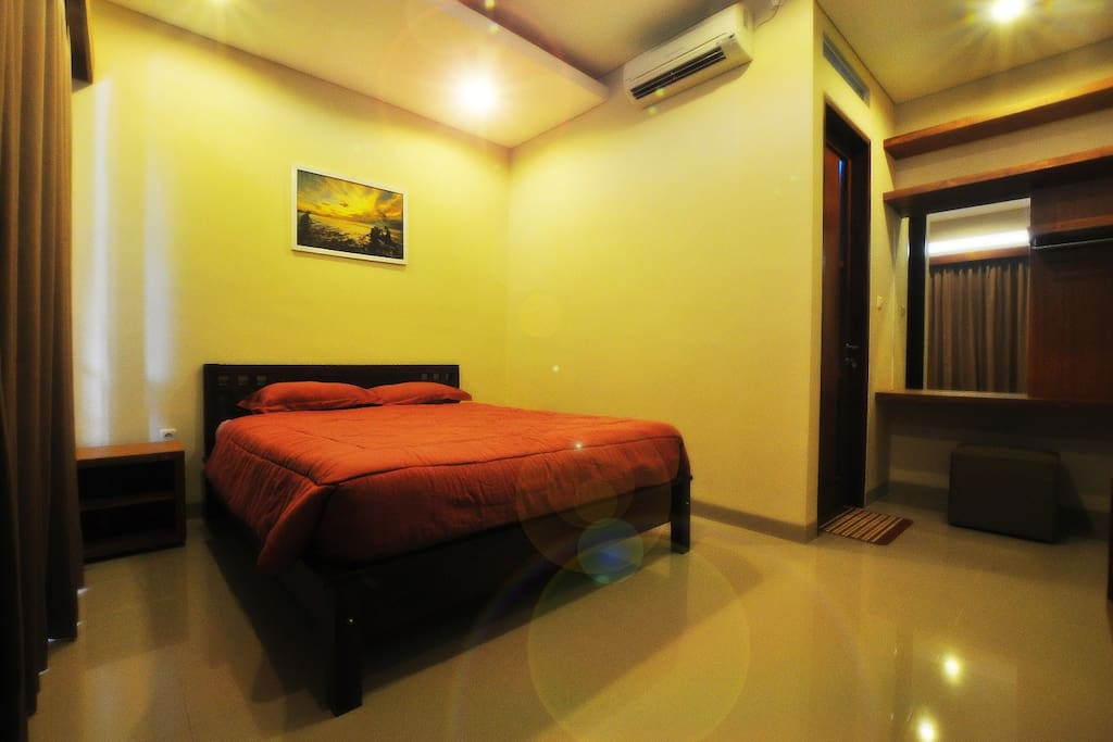 The room with double bed