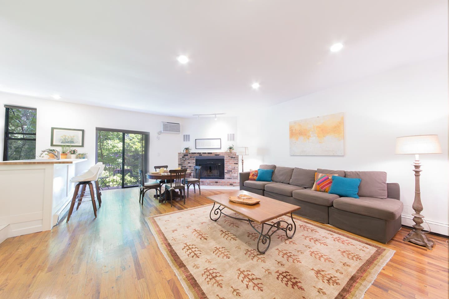 floor 2 - lovely open layout with working fireplace and w/d in the unit