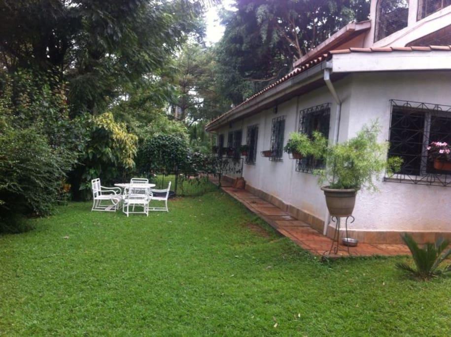 beautiful lush garden with furniture