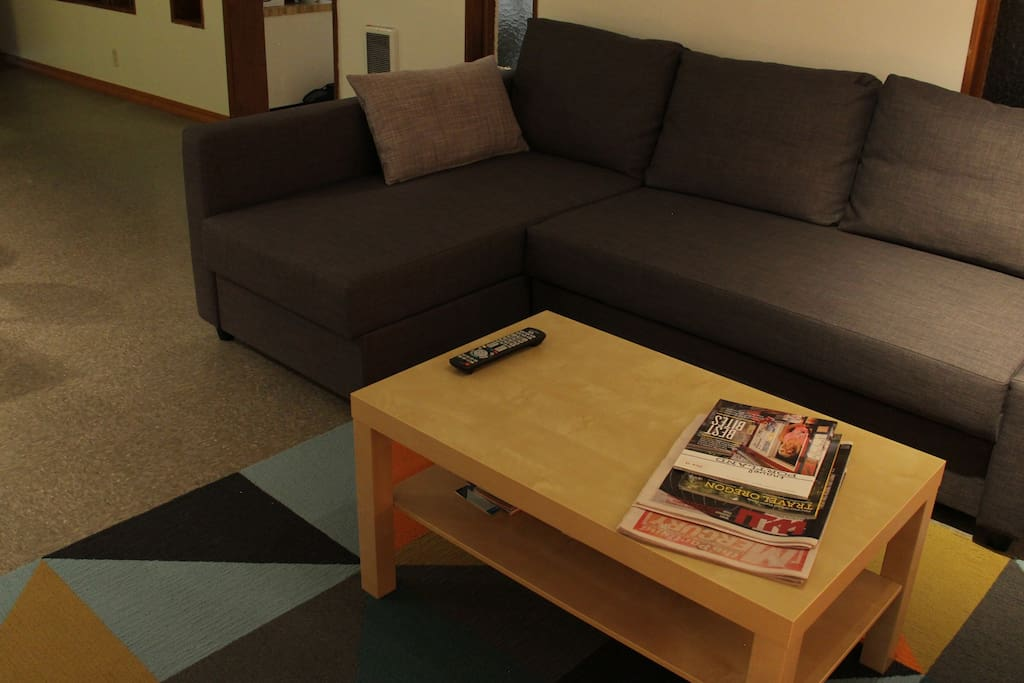 …you can fit two more on double/full sized sleeper sofa in living room.