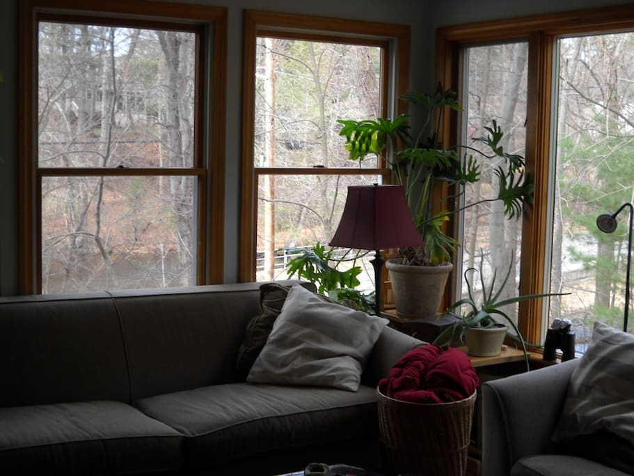 Winter view from family room. pond thru left windows, woods thru windows on right