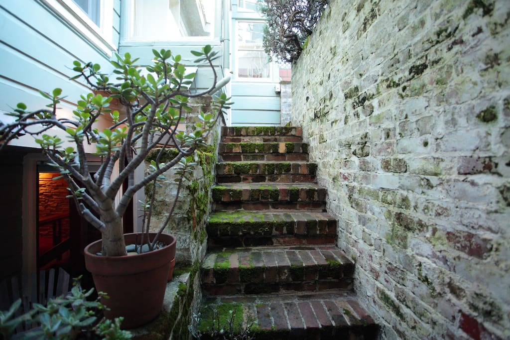 Private stairs to the garden