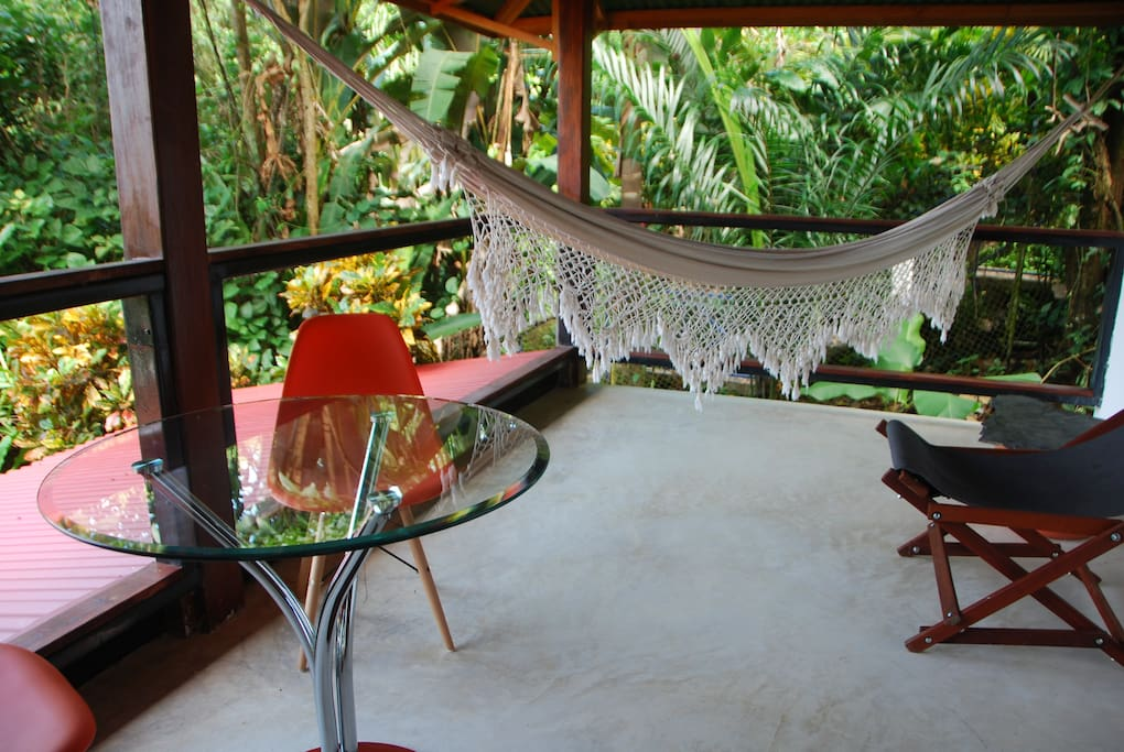 Large furnished porch with ocean view