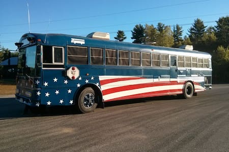 Amazing converted School Bus in red white and blue design. This bus features everything you need with an absolute coolness factor. Stay close to NYC on a budget in the coolest camper around. Bathroom, shower, toilet, and room to sleep up to 6 people.