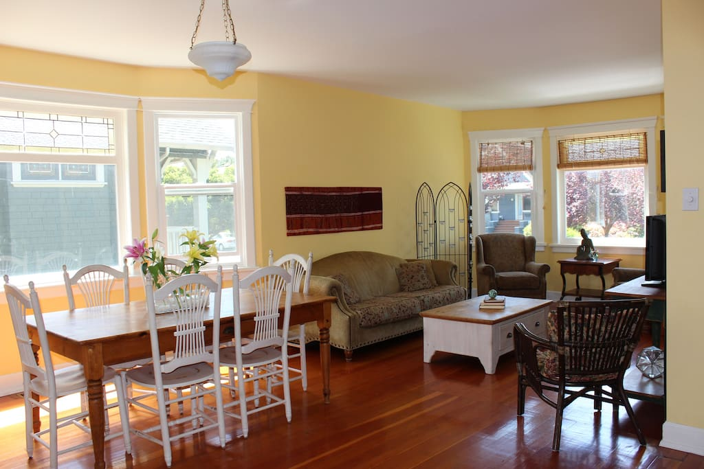Make yourself at home in the shared bright living room and dining room.
