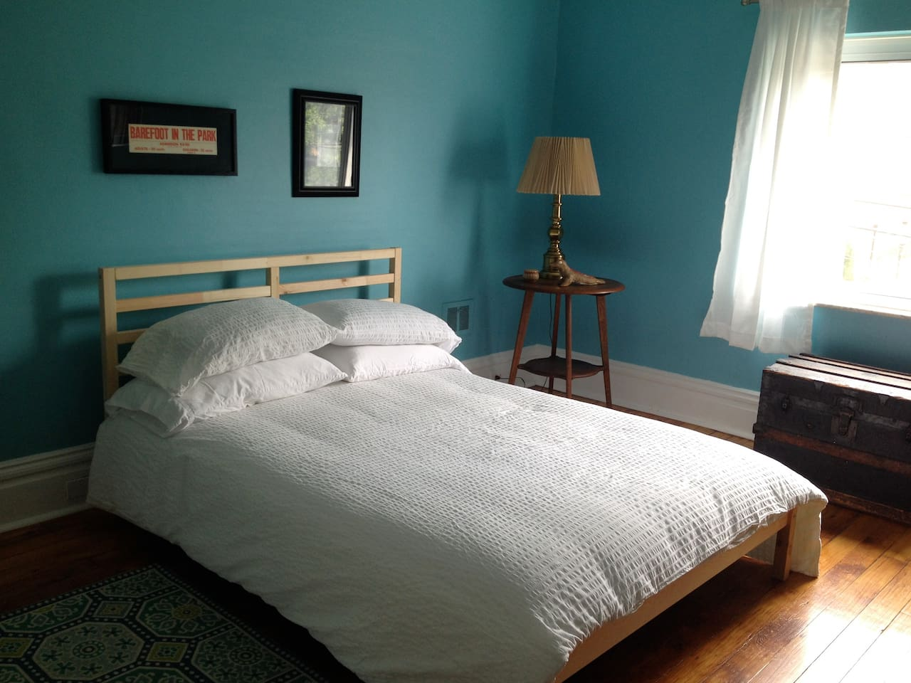 Comfy Full Bed and Original Pine Wood Floors