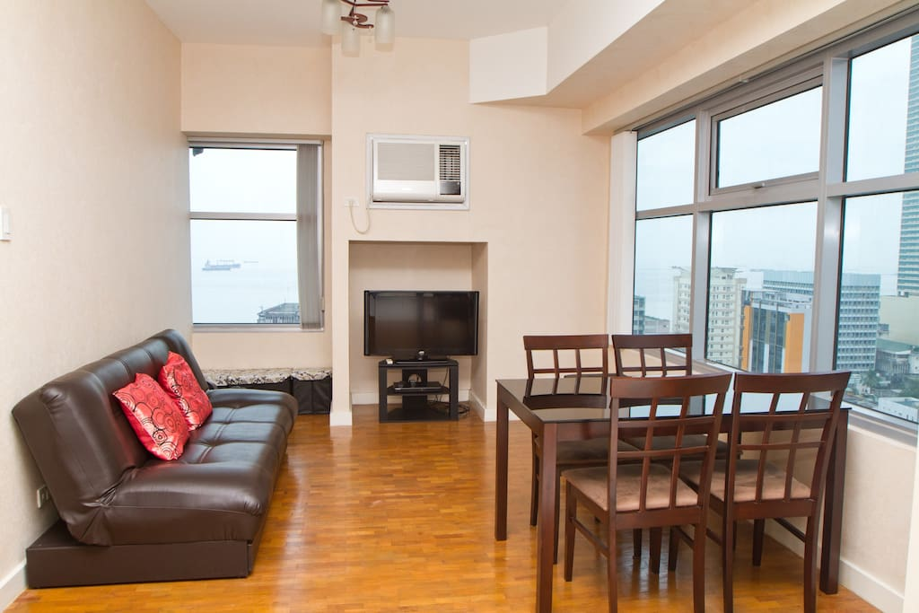 Living Room with fabulous Manila Bay view