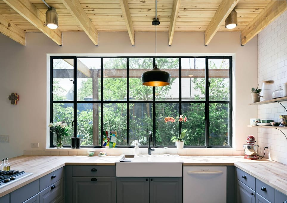 Large window provides plenty of natural light and a most enjoyable cooking experience. Also allows for viewing outdoor activities, be it parties or kids playing.