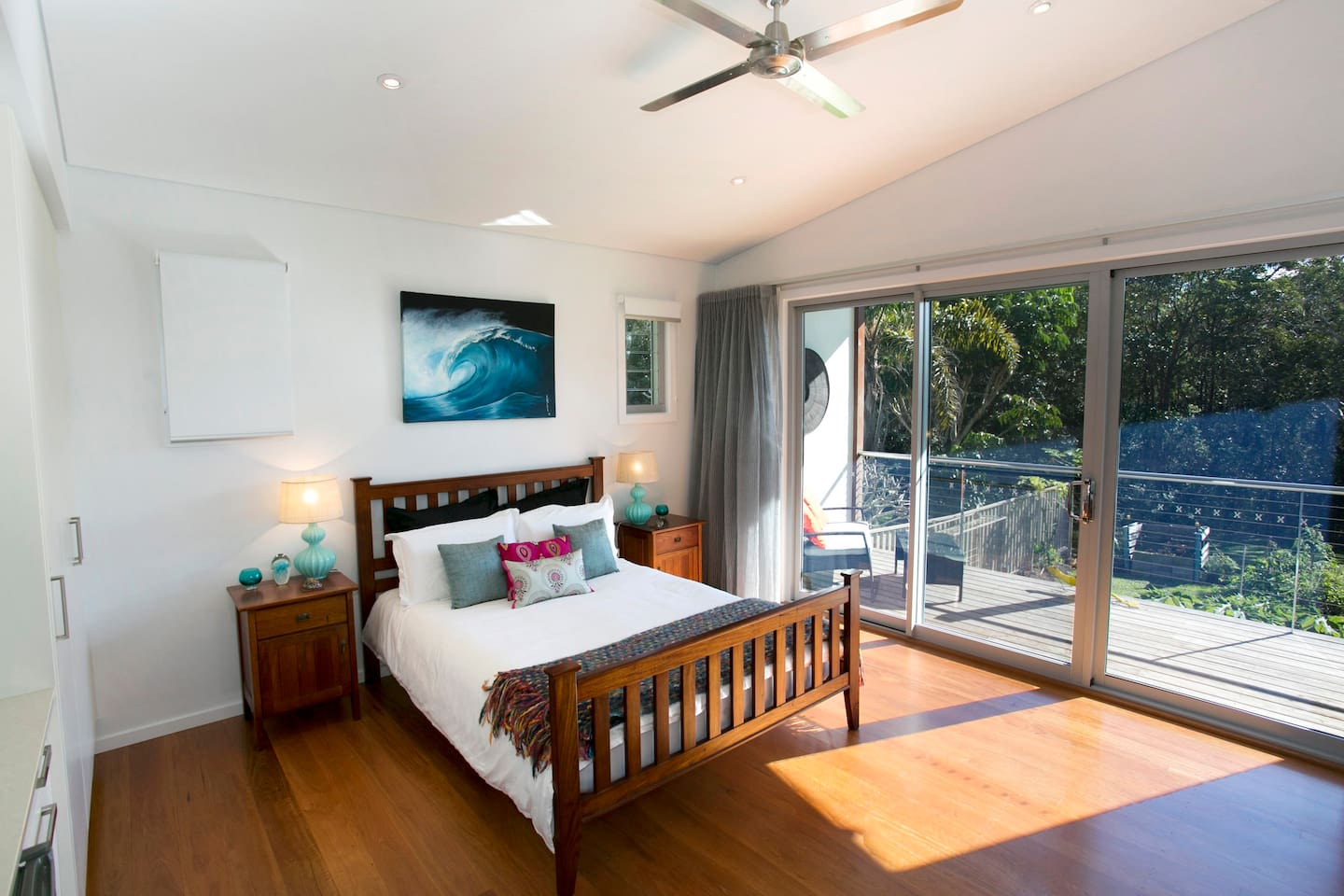 Sunny bedroom with own decking