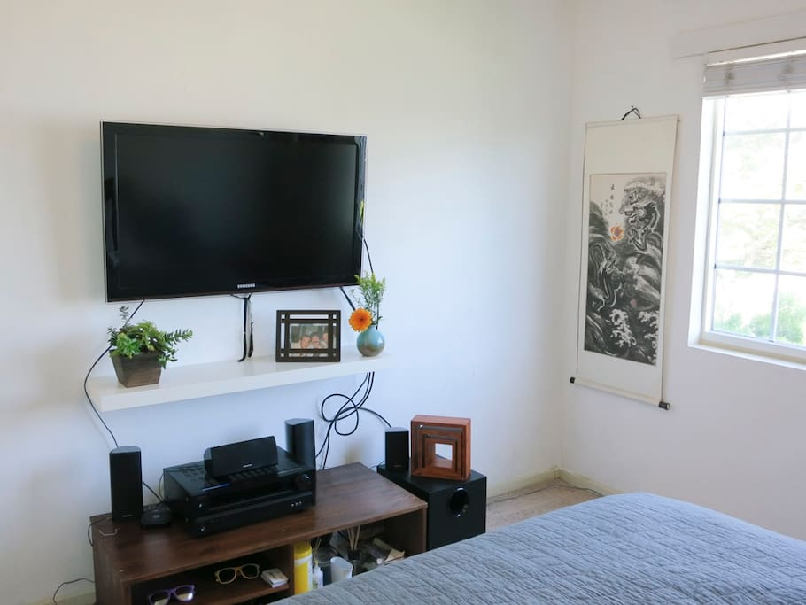 A television is available in the second bedroom, with Chromecast included.