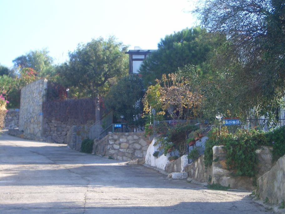 """this is the driveway into the compound """"lindos sitesi"""" my place is the FIRST RIGHT and the end house!"""