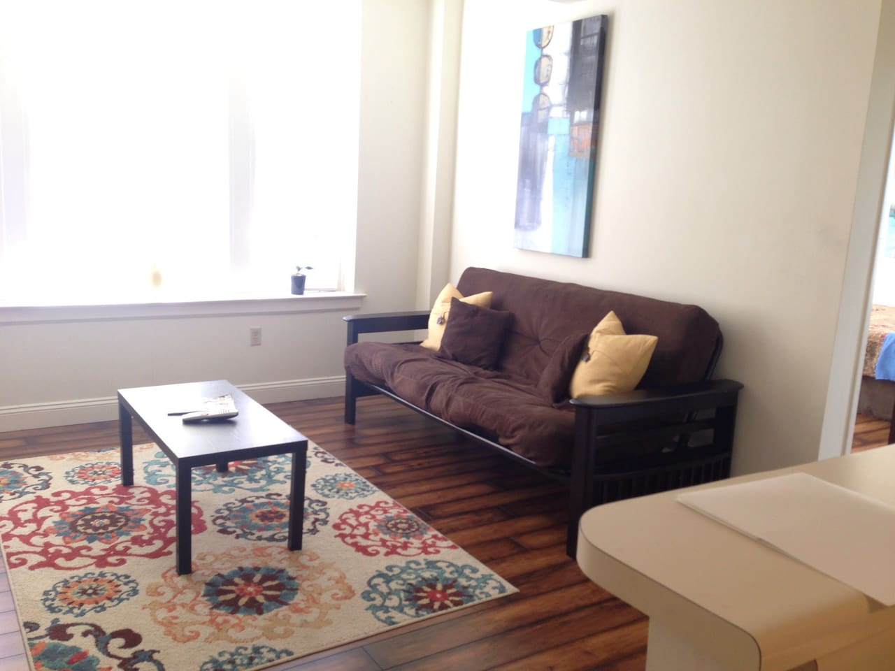 Renovated apartment with hardwood floors, futon in living room