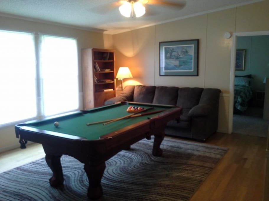 pool table and reading area