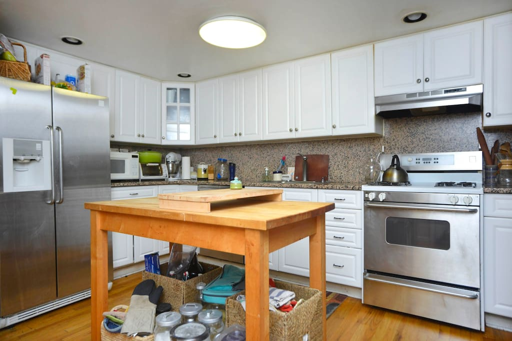 Our kitchen with ample space to cook but the neighborhood restaurants beckon!