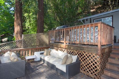 Above And Beyond is a lovely hillside home close to town and a short walk to the Russian River. With private, shaded decks a clean, modern interior, and numerous amenities for guests to enjoy, this is a great choice for couples!