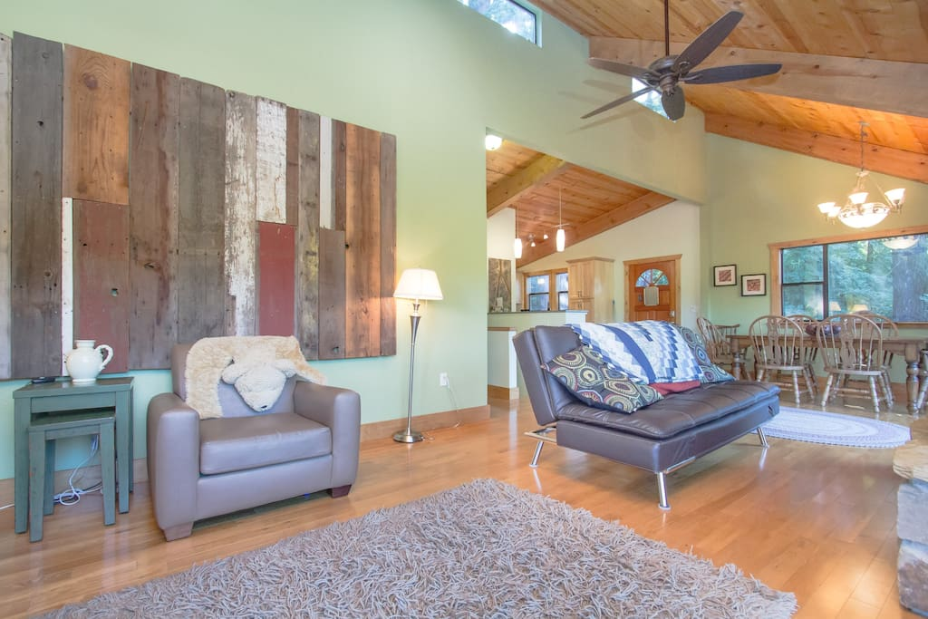 Relax and enjoy the open floor plan after a day of exploring the Russian River Valley!