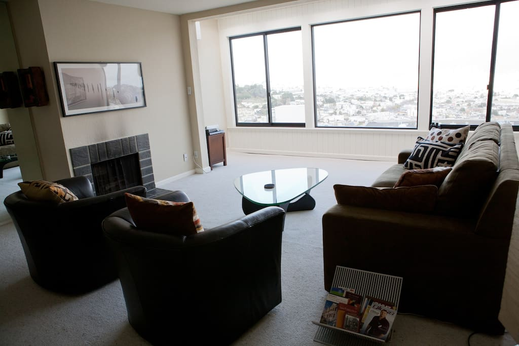 Living room with pull out sofa and views