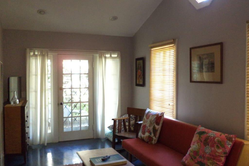 Living room with front door
