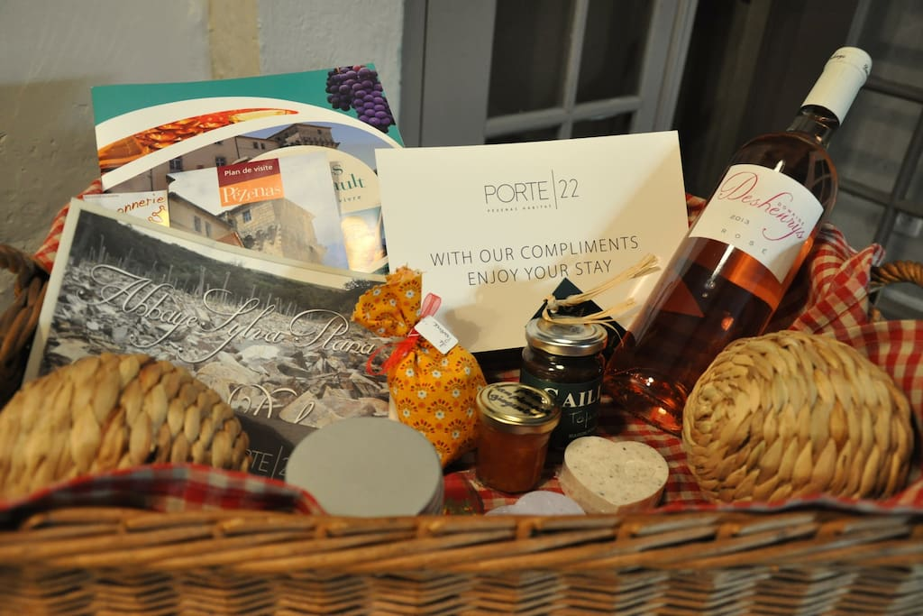 Feel instantly at home with your Porte 22 welcome basket, all items sourced locally.