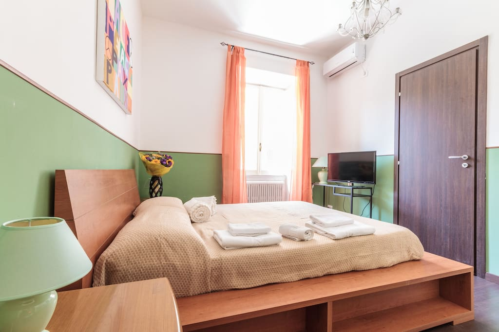 New double-bed, bigger bathroom, air-conditioning, tv, free wi-fi
