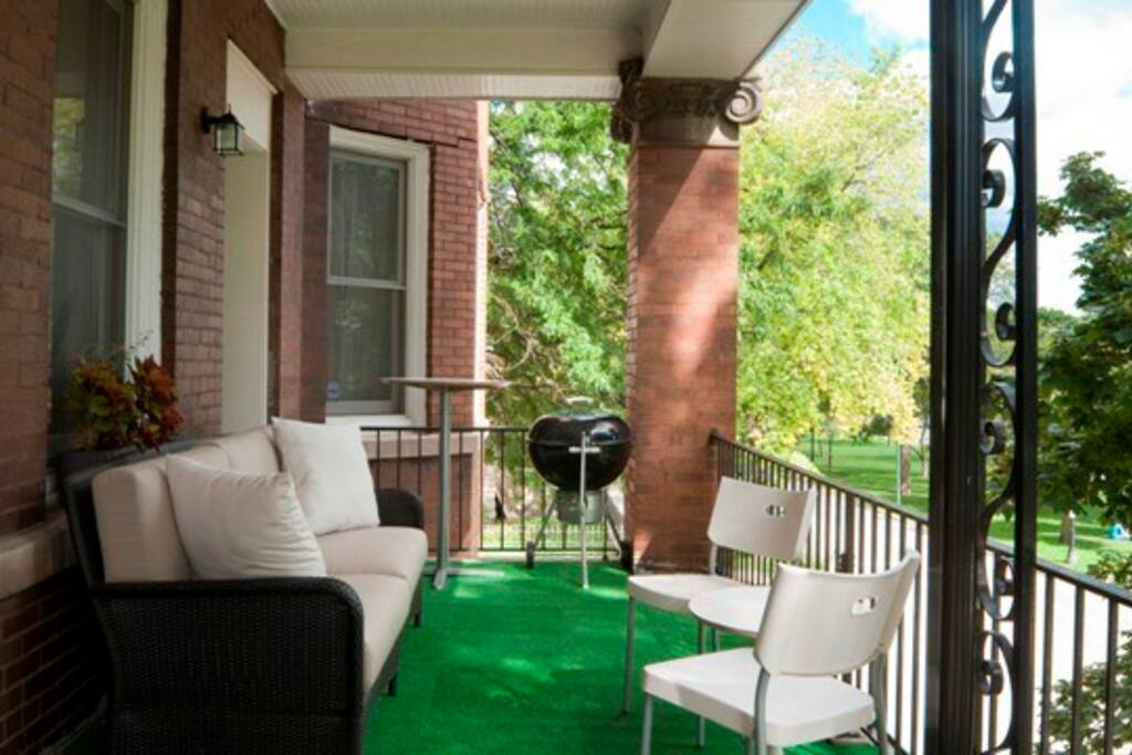 Our porch, complete with boulevard view for great people-watching!