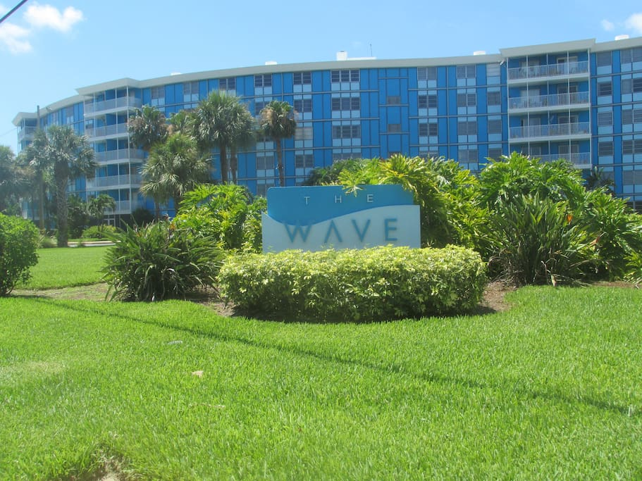Front of The Wave, a condo building with 128 units in south St. Pete by the Skyway Bridge