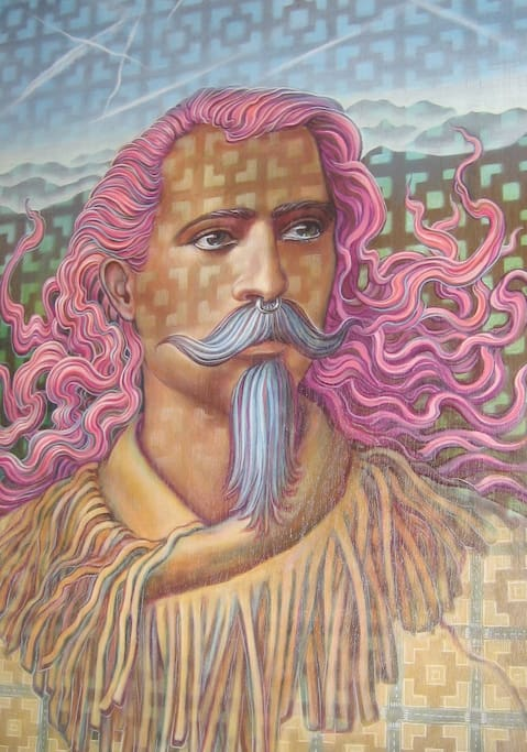 The gypsy pink room has an original painting by Amanda Sage.